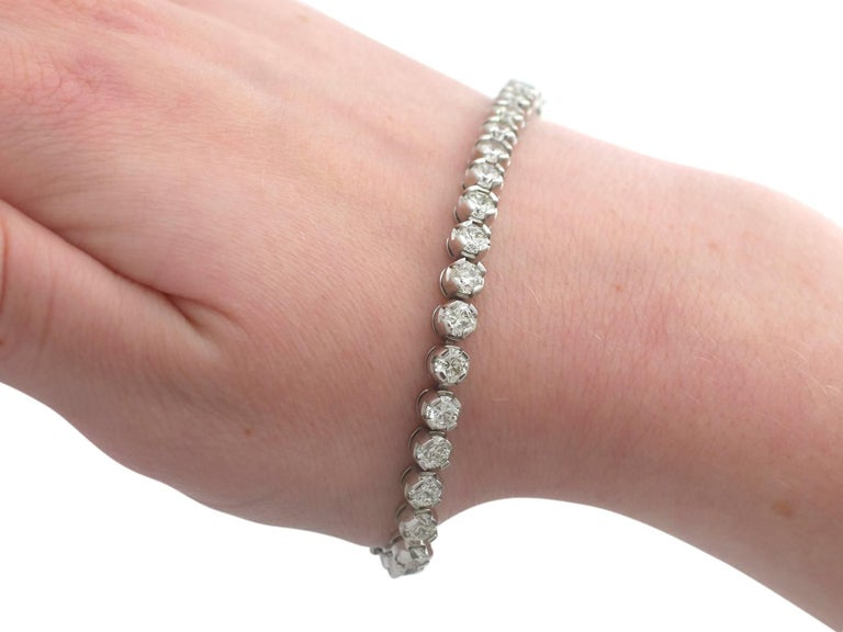 10.01 Carat Diamond White Gold Tennis Bracelet 7