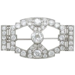 Antique 7.10 Carat Diamond and Platinum Brooch
