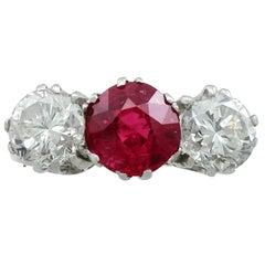 1940s 2.21 Carat Ruby and 2.06 Carat Diamond Trilogy Ring
