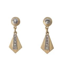 Art Deco 1,10 K Diamant & Gold Ohrringe ca. 1920