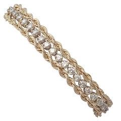 Vintage 1.50Ct Diamond and 14k Yellow Gold Rope Twist Bracelet - Circa 1990