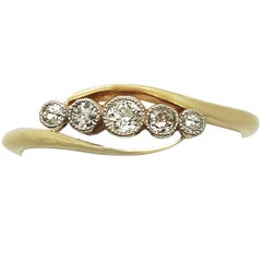 Antique 0.22Ct Diamond and 18k Yellow Gold Five Stone Ring - Circa 1920