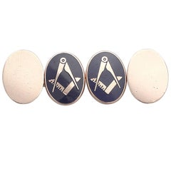 Vintage 1975 9k Rose Gold & Enamel Freemasons' 'Square and Compass' Cufflinks
