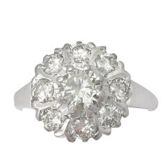 Vintage 1960s 1.45 Carat Diamond and White Gold Cluster Ring