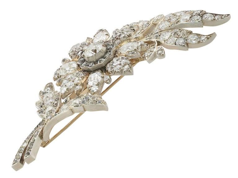 1890s Victorian 14.68 Carat Diamond Yellow Gold Floral Brooch 2
