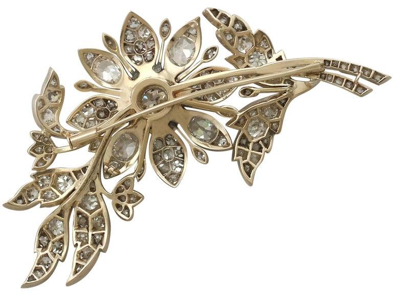 1890s Victorian 14.68 Carat Diamond Yellow Gold Floral Brooch 5