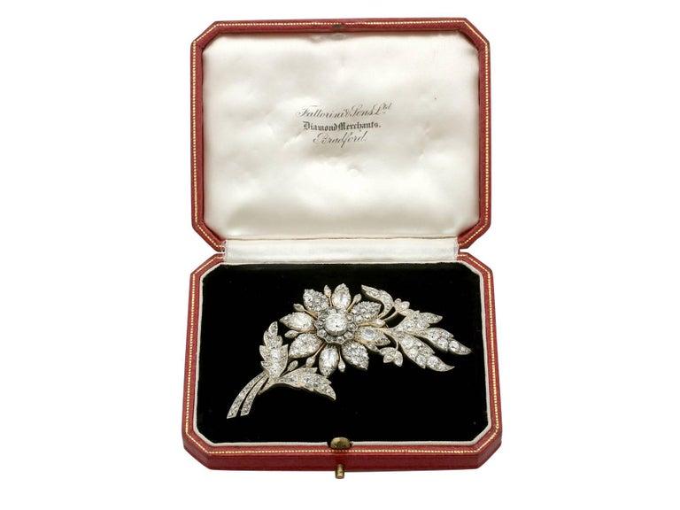 1890s Victorian 14.68 Carat Diamond Yellow Gold Floral Brooch 7