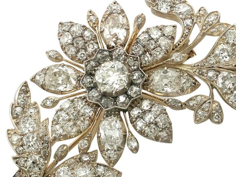 1890s Victorian 14.68 Carat Diamond Yellow Gold Floral Brooch 4