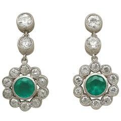 Antique Emerald and 1.82 Carat Diamond White Gold Drop Earrings Circa 1930