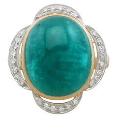 Vintage 14.5 Carat Emerald and Diamond Yellow Gold Cocktail Ring Circa 1940