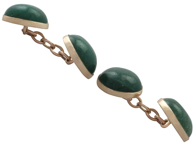 Antique Moss Agate and Yellow Gold Cufflinks, circa 1920 In Excellent Condition For Sale In Jesmond, Newcastle Upon Tyne