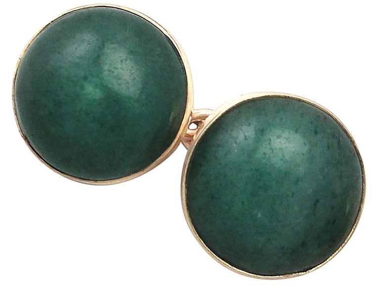 Men's Antique Moss Agate and Yellow Gold Cufflinks, circa 1920 For Sale