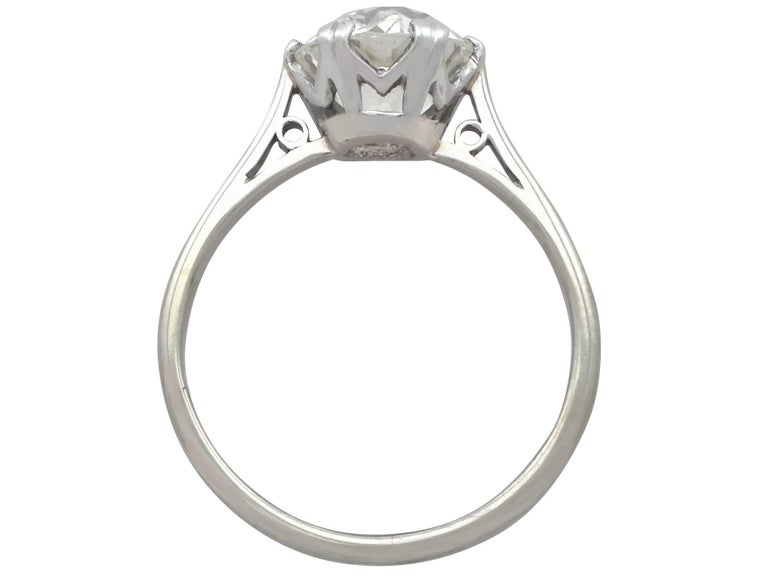 1910s 2.31 Carat Diamond and Platinum Solitaire Ring For Sale 1