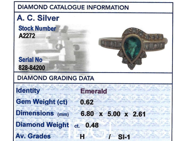 Emerald & Diamond Yellow Gold Cocktail Ring For Sale 1