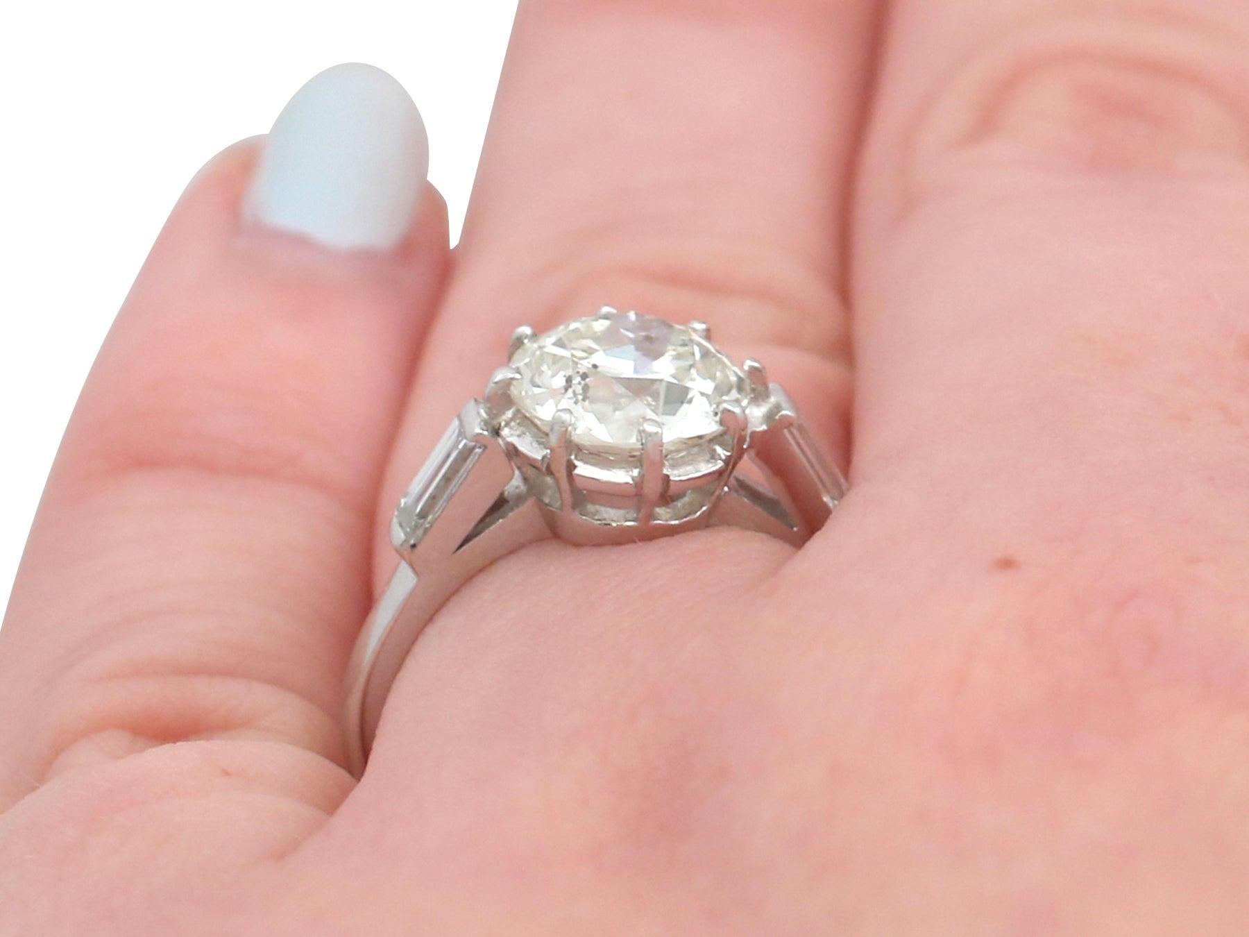 2.78 Carat Diamond and Platinum Solitaire Ring in Art Deco Style ...