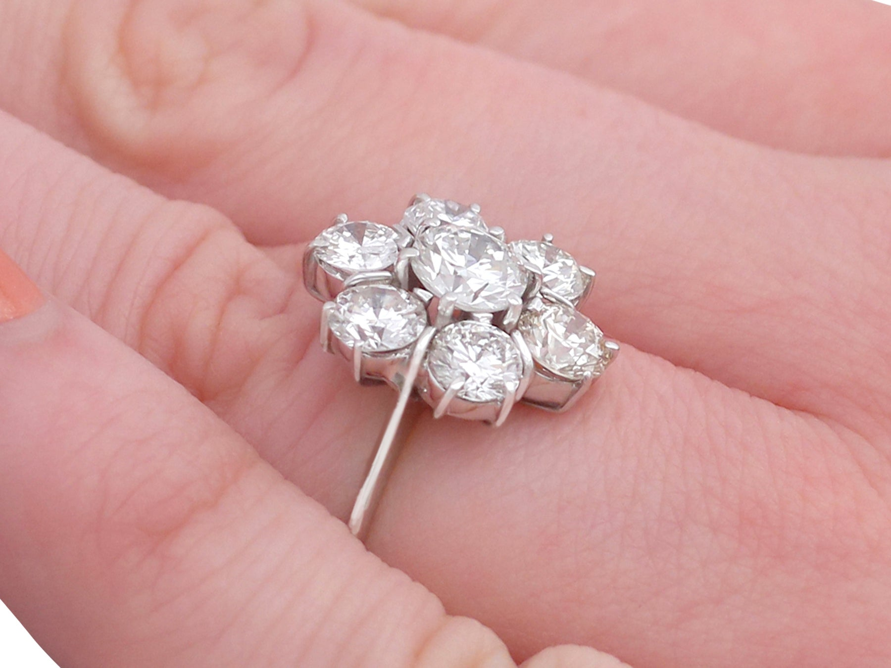 1950s 2.68 Ct Diamond White Gold Cluster Ring For Sale at 1stdibs