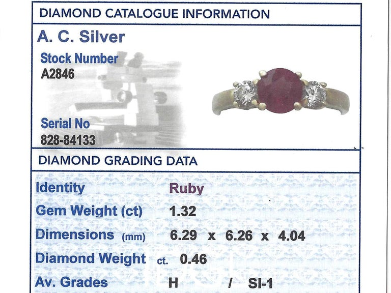 1.32Ct Ruby & Diamond, 18k Yellow Gold Trilogy Ring - Contemporary  For Sale 1