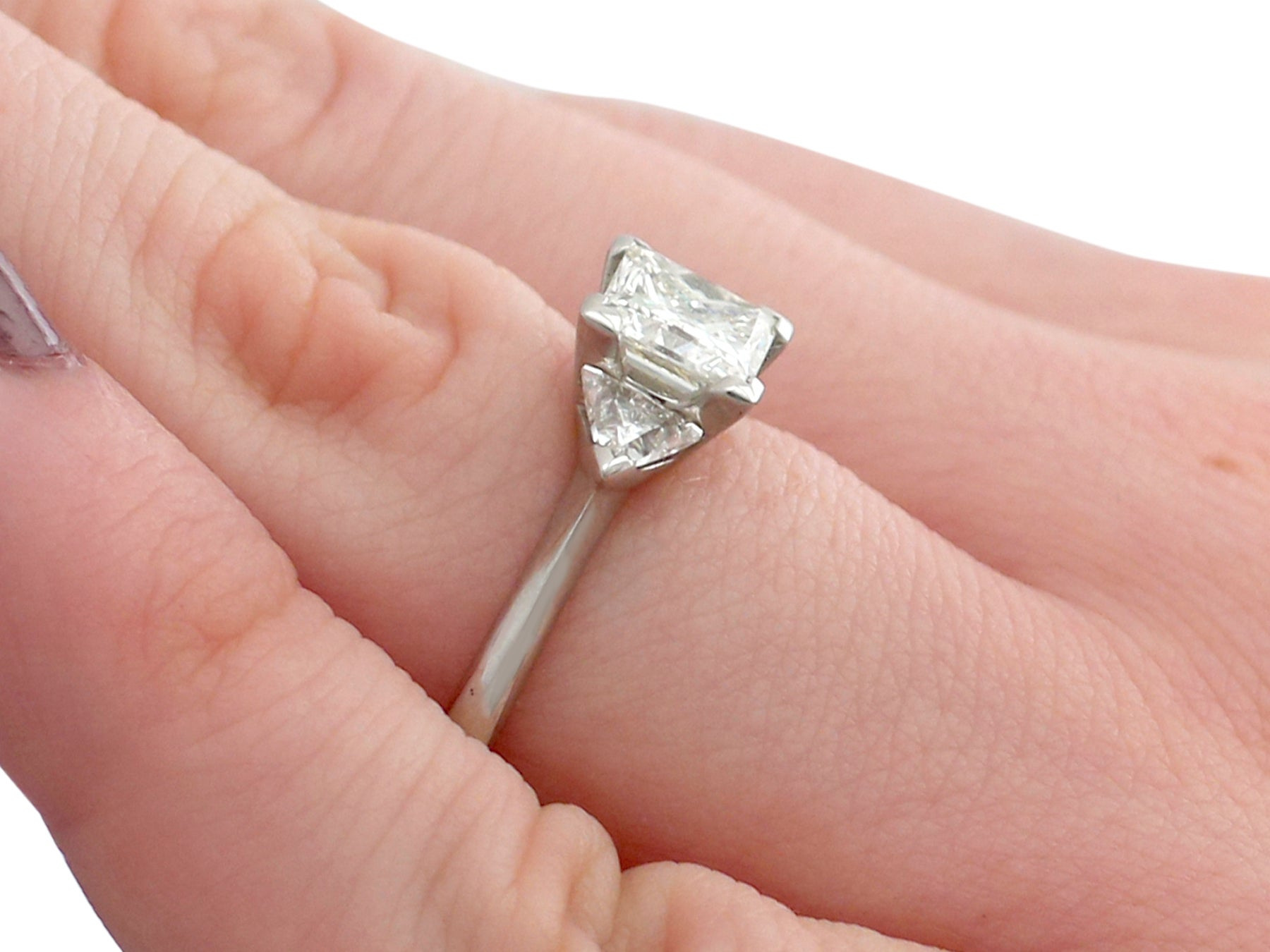 1.87Ct Diamond and Platinum Trilogy Ring - Contemporary 2015 For ...