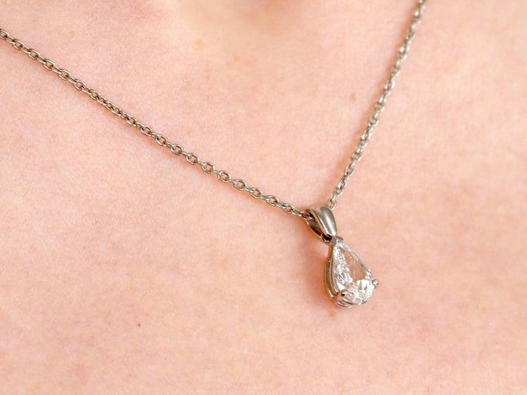 1990s Vintage Diamond and Platinum Solitaire Pendant by David Morris For Sale 4