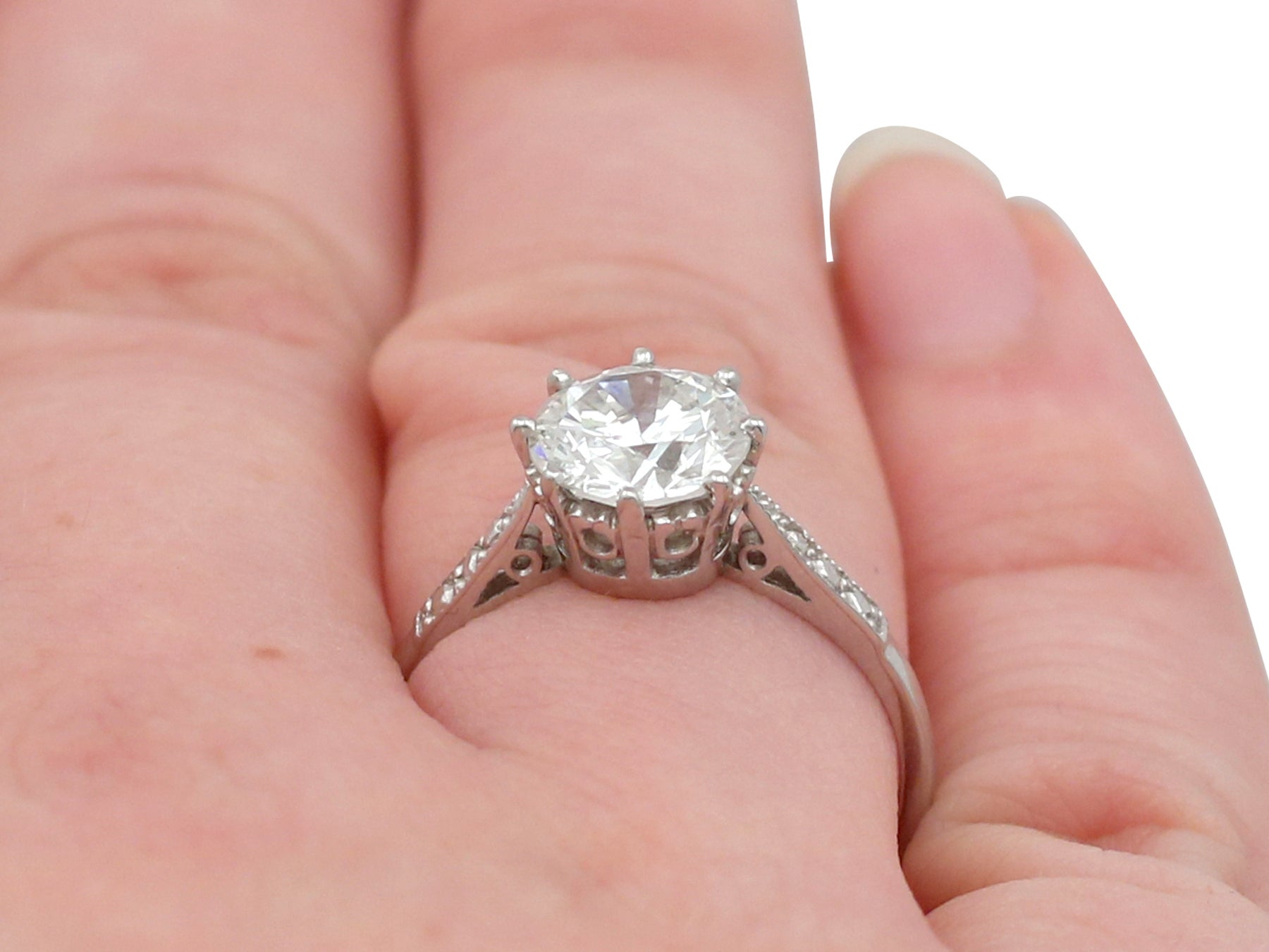 1960s Vintage and Contemporary 1.85 Carat Diamond and Platinum ...