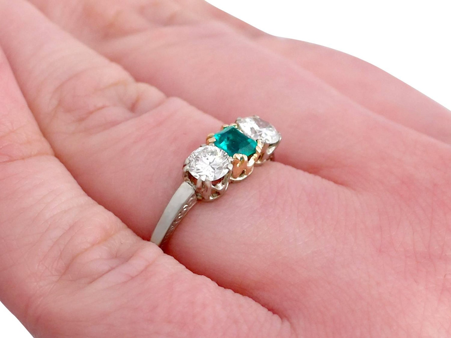 Antique 1930s Emerald and Diamond White Gold Trilogy Ring For Sale ...