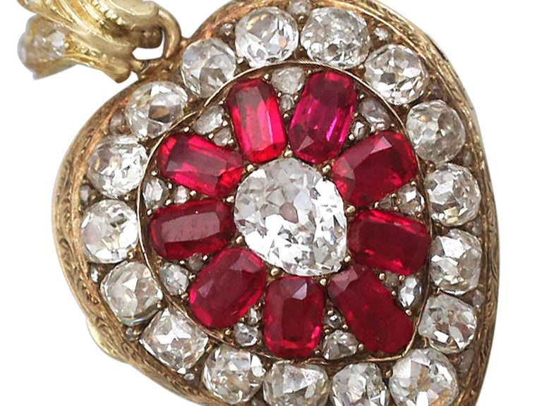 1880s Synthetic Ruby 4.55 Carats Diamonds Gold Pendant Locket In Excellent Condition For Sale In Jesmond, Newcastle Upon Tyne