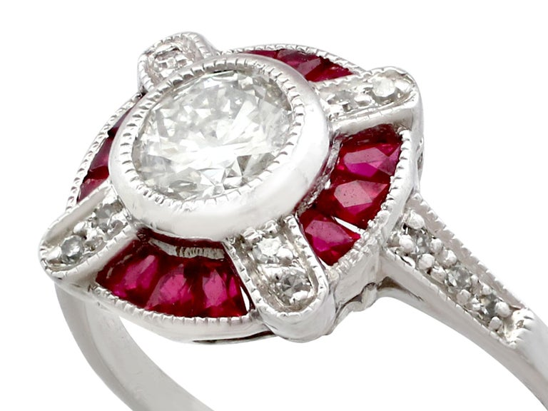 Art Deco 1940s Ruby and Diamond Platinum Cocktail Ring For Sale