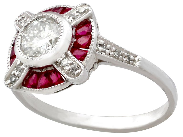 Round Cut 1940s Ruby and Diamond Platinum Cocktail Ring For Sale