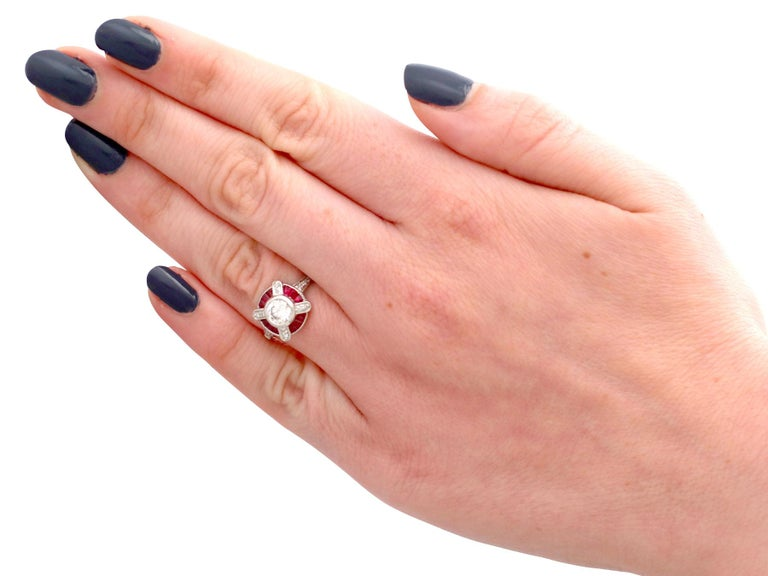 1940s Ruby and Diamond Platinum Cocktail Ring For Sale 1