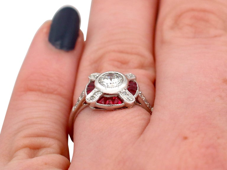 1940s Ruby and Diamond Platinum Cocktail Ring For Sale 3