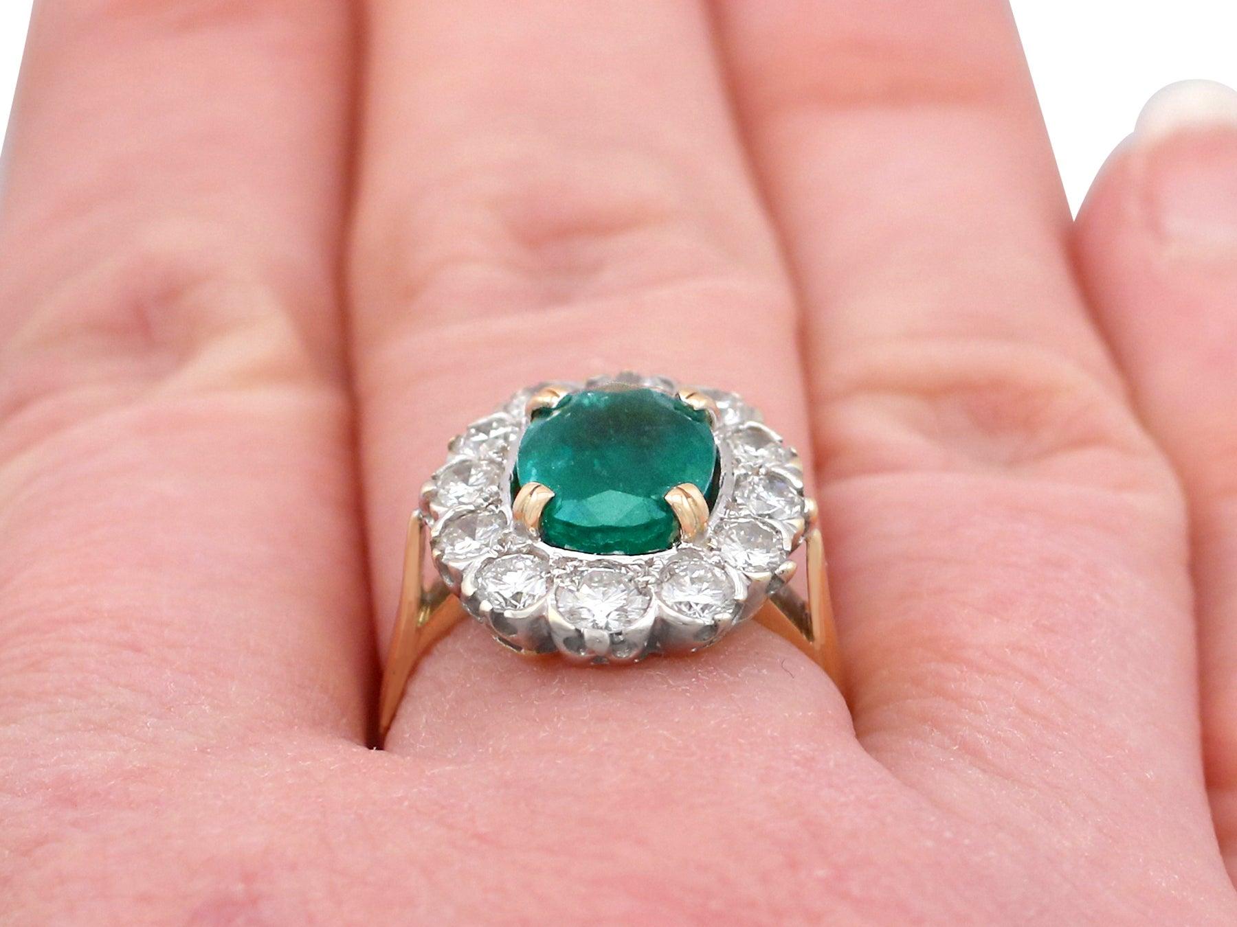 2.90 Carat Emerald and 2.38 Carat Diamond Yellow Gold Cluster Ring ...