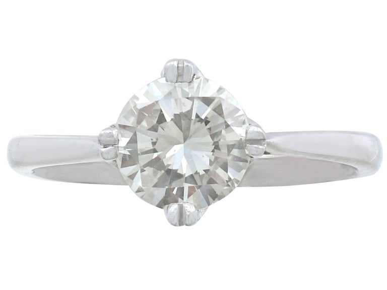 1990's 1.28 Ct Diamond and Platinum Solitaire Ring