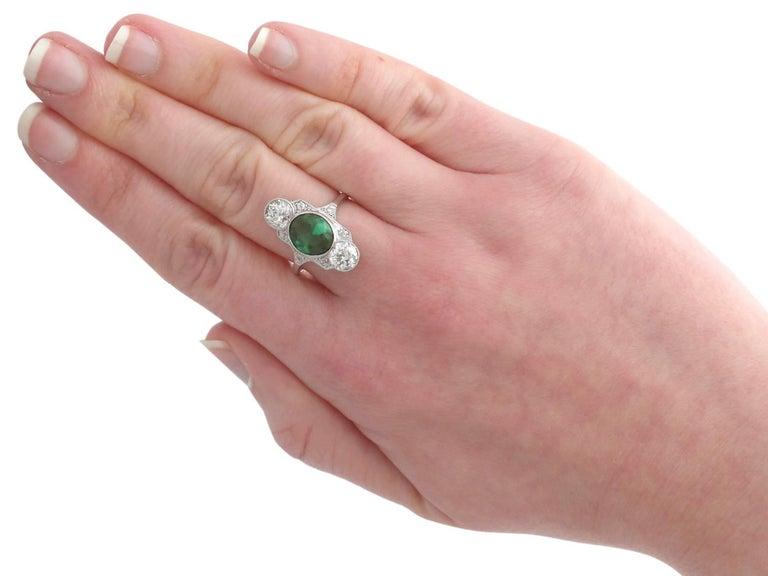 1900s Antique 2.59 Carat Tourmaline and 1.95 Carat Diamond Gold Platinum Ring 6