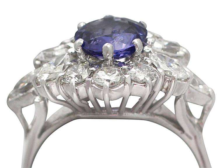 1970s 1.15 Carat Sapphire and 1.65 Carat Diamond, 18k White Gold Cluster Ring 3