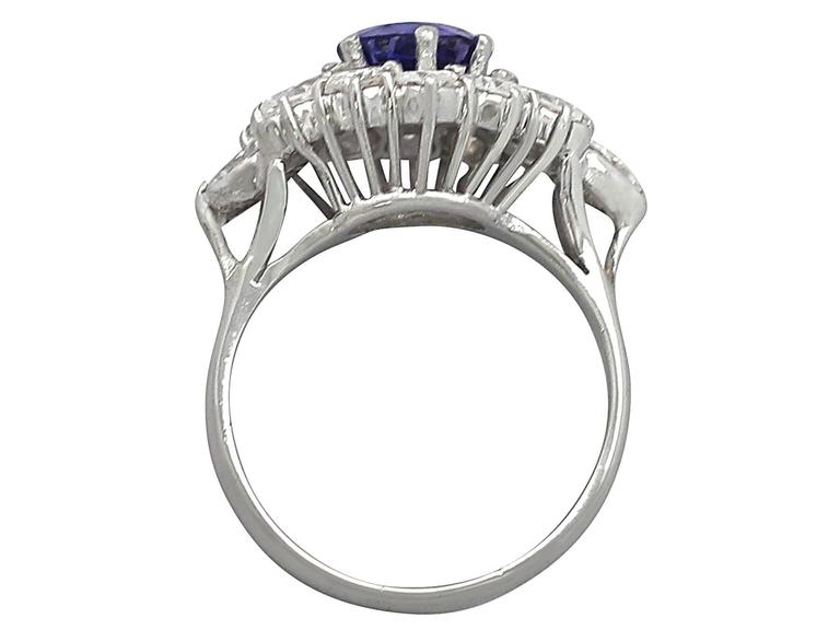 1970s 1.15 Carat Sapphire and 1.65 Carat Diamond, 18k White Gold Cluster Ring 4