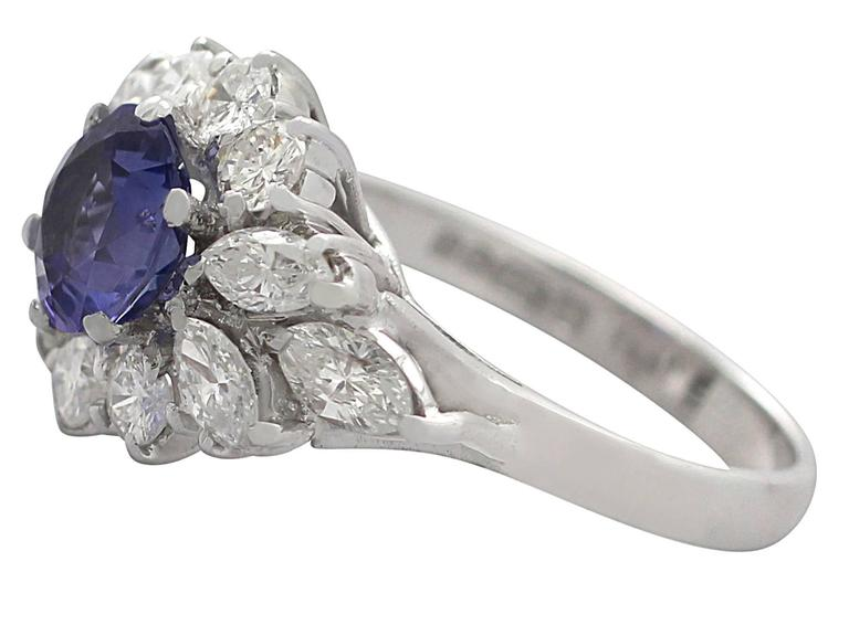 1970s 1.15 Carat Sapphire and 1.65 Carat Diamond, 18k White Gold Cluster Ring 5