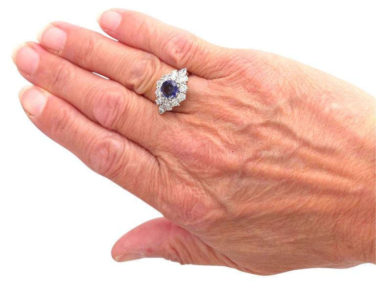 1970s 1.15 Carat Sapphire and 1.65 Carat Diamond, 18k White Gold Cluster Ring 7
