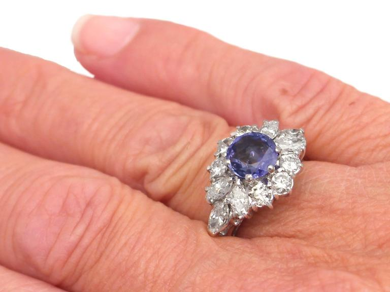 1970s 1.15 Carat Sapphire and 1.65 Carat Diamond, 18k White Gold Cluster Ring 8