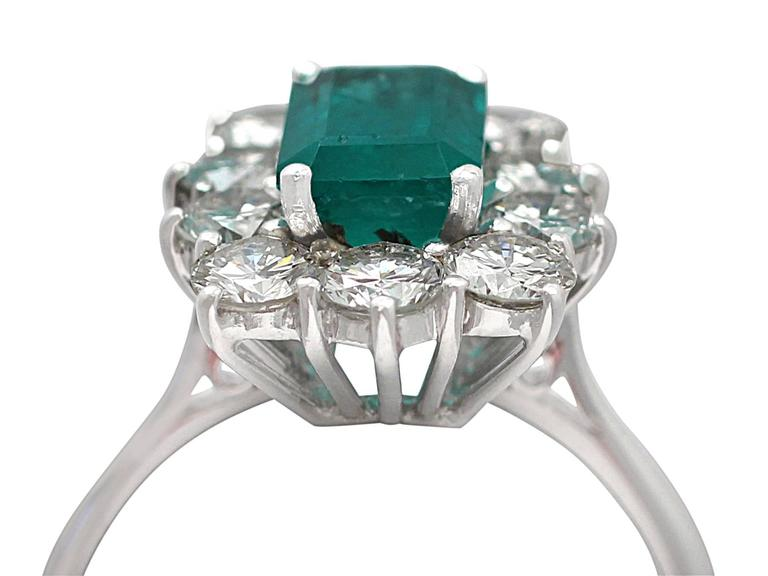 1.57Ct Emerald & 1.72Ct Diamond, 18k White Gold and Cluster Ring - Vintage 2