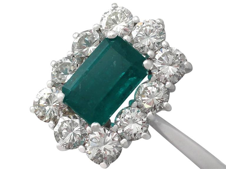 1.57Ct Emerald & 1.72Ct Diamond, 18k White Gold and Cluster Ring - Vintage 3