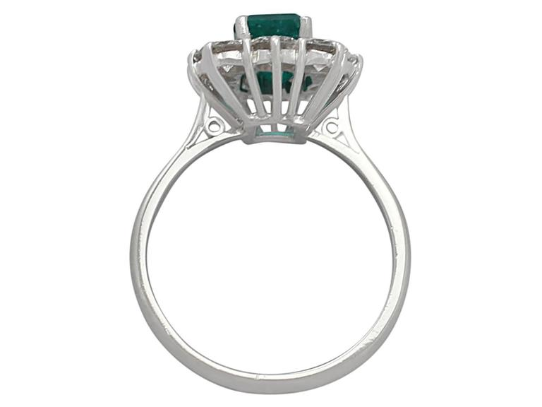 1.57Ct Emerald & 1.72Ct Diamond, 18k White Gold and Cluster Ring - Vintage 5