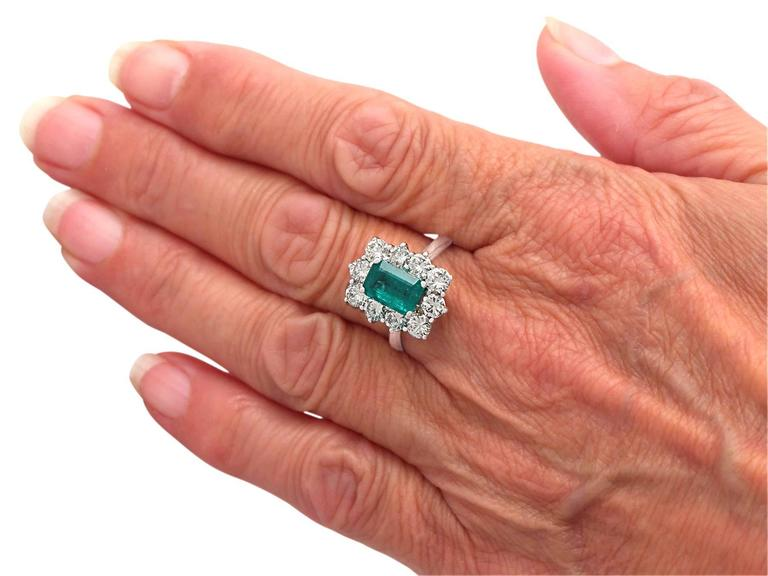 1.57Ct Emerald & 1.72Ct Diamond, 18k White Gold and Cluster Ring - Vintage 7