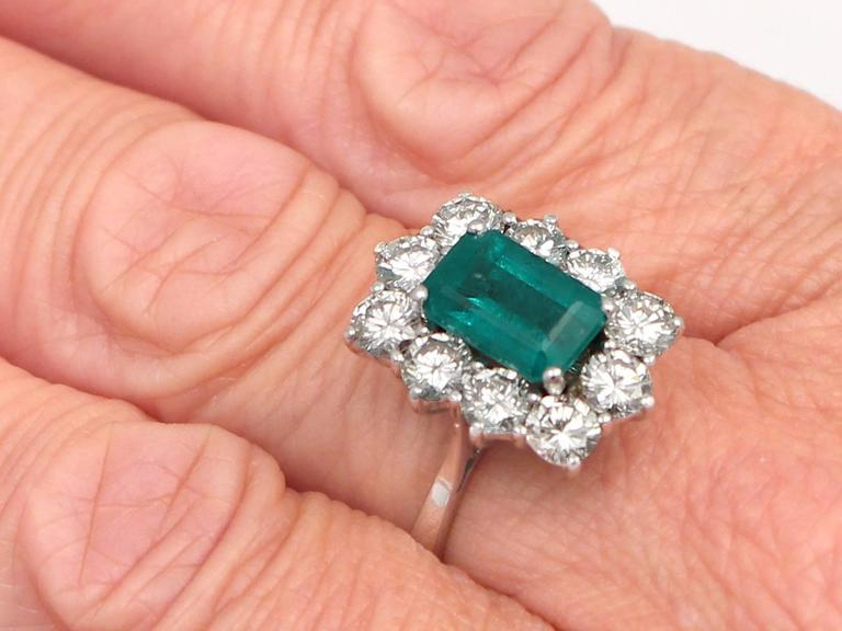 1.57Ct Emerald & 1.72Ct Diamond, 18k White Gold and Cluster Ring - Vintage 8