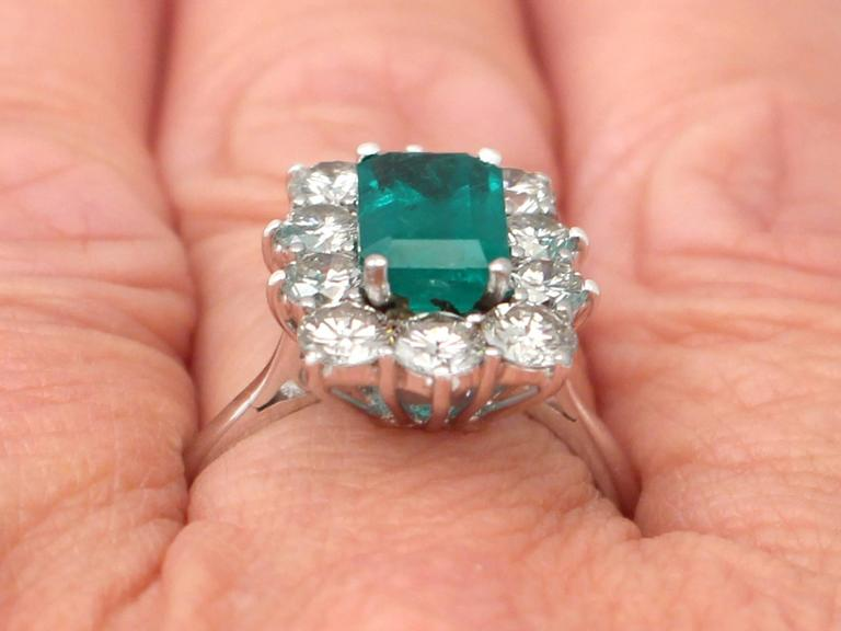1.57Ct Emerald & 1.72Ct Diamond, 18k White Gold and Cluster Ring - Vintage 9