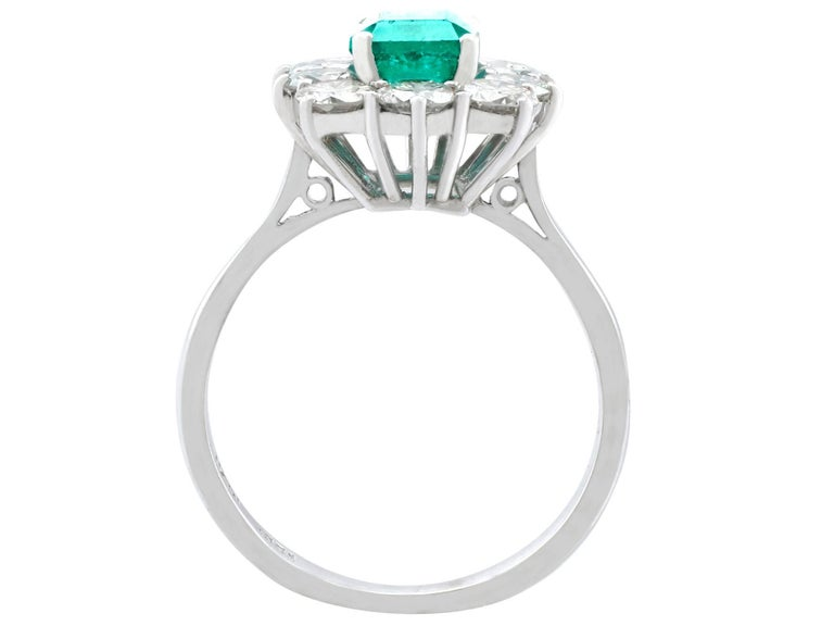 1.57 Carat Emerald and 1.72 Carat Diamond Cluster Engagement Ring For Sale 1