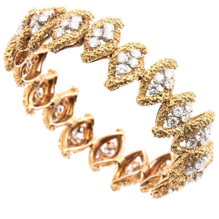 Boucheron 18k Yellow Gold and Diamond Bracelet For Sale