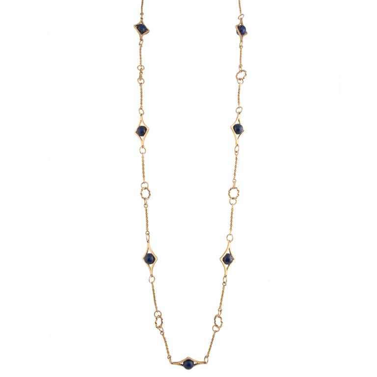 1970s Gold and Lapis Lazuli Long Necklace