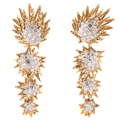Pair of 18k Yellow Gold, Platinum and Diamond Day-and-Night Earrings
