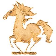 George Weil 18k Yellow Gold Horse Brooch, Unique