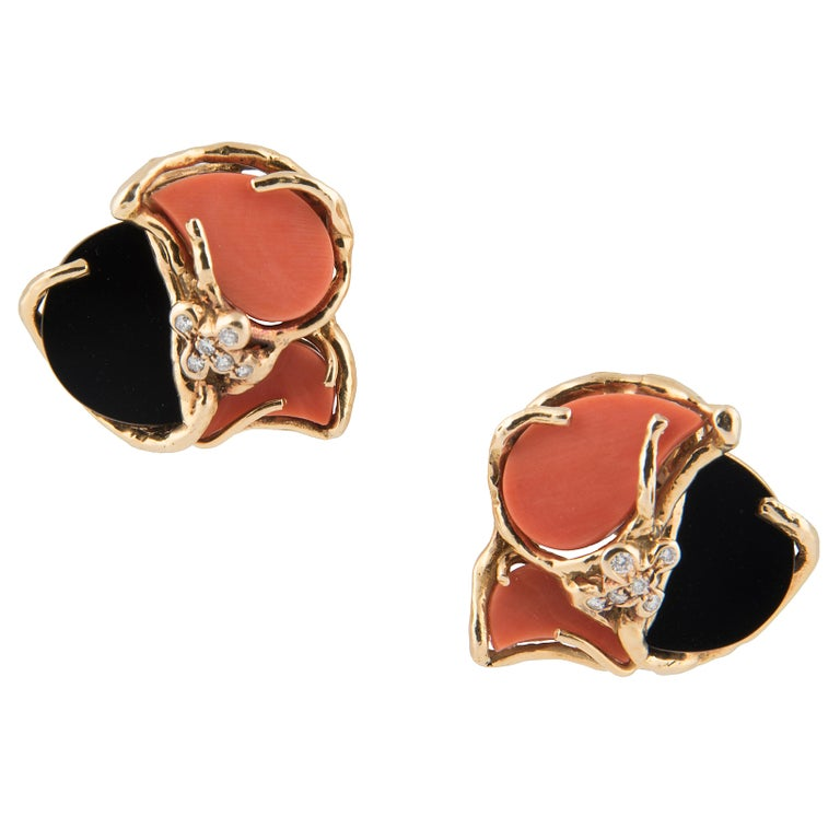 Chaumet 18k Yellow Gold Onyx Coral and Diamond Earrings